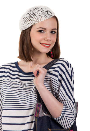 parisian: Young cute brunette girl in parisian style. Isolated Stock Photo