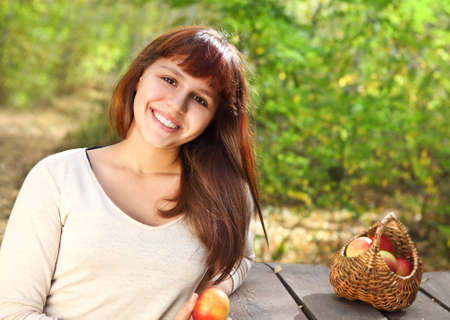 Happy smiling teen girl outdoors Stock Photo - 16606158