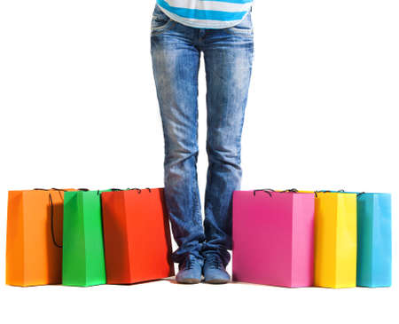 Young woman after shopping. Close up Stock Photo - 16639816
