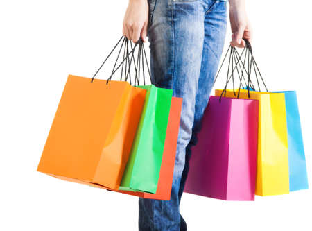 Young woman after shopping. Close up Stock Photo - 16639818