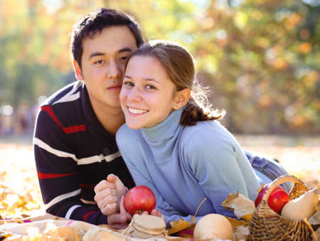 Happy young couple in love outdoors Stock Photo - 16789444