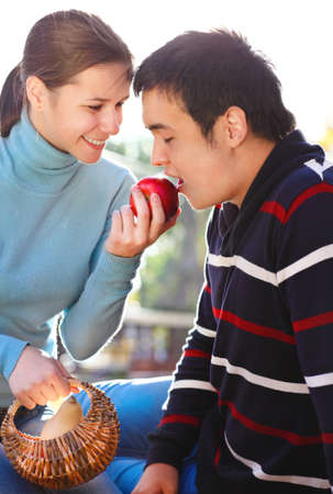 Happy young couple in love outdoors Stock Photo - 16789469