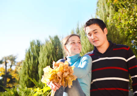 Happy young couple in love outdoors Stock Photo - 16789446