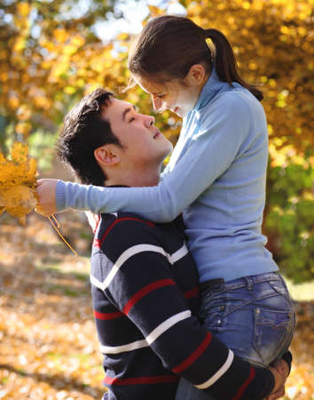 Happy young couple in love outdoors Stock Photo - 16789350