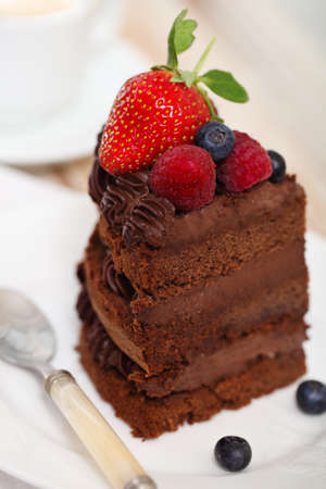 Piece of chocolate cake with icing and fresh berry on light background Stock Photo - 17068715