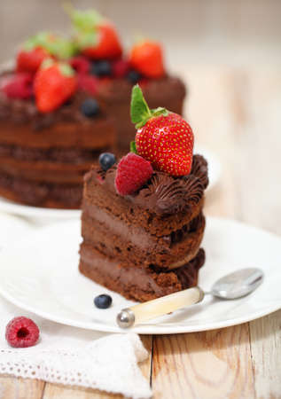 Piece of chocolate cake with icing and fresh berry on light background