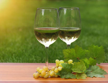 Two glasses of white wine and grapes with green leaves  photo