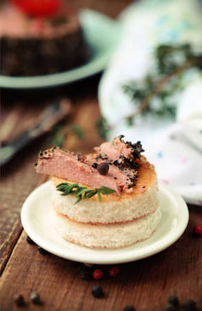 Tasty duck pate appetizer with fresh herbs and tomatoes photo