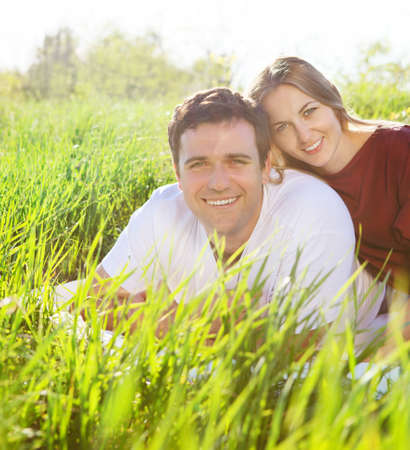 Young happy couple in love in spring day. Outdoors potrait Stock Photo - 17784553