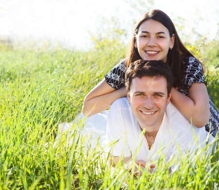 Young happy couple in love in spring day. Outdoors potrait Stock Photo - 17784552