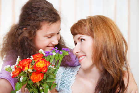 Portrait of happy mother and her little daughter in Mother's Day Stock Photo - 18008926
