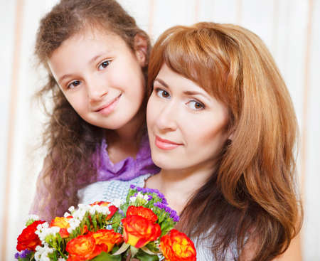 Portrait of happy mother and her little daughter in Mother's Day Stock Photo - 18008932