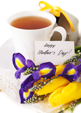 Tea with flowers and gift box for mom in Mother's Day Stock Photo - 18363468