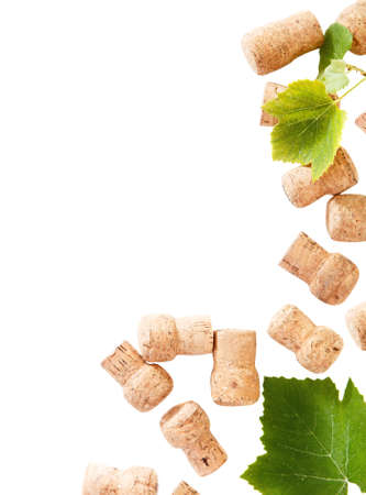 multiple stains: Dated wine bottle corks on the white background. Close up