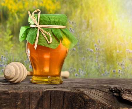 Honey jar on the wooden table against nature background photo