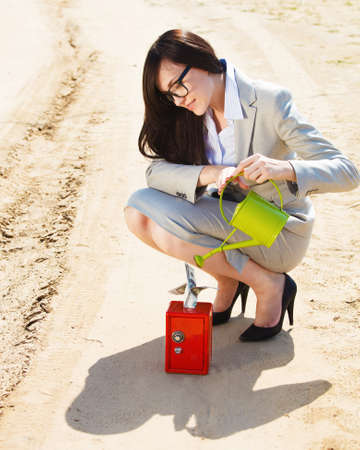 sand dollar: Businesswoman watering a money in safe in a desert. Concept