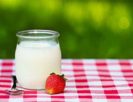 frozen joghurt: Strawberry Yogurt in a glass jar with fresh strawberry