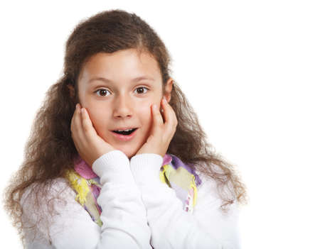 little girl surprised: Surprised little cute girl on a white background