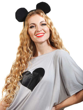 hairdress: Smiling woman with a ridiculous hairdress over white Stock Photo