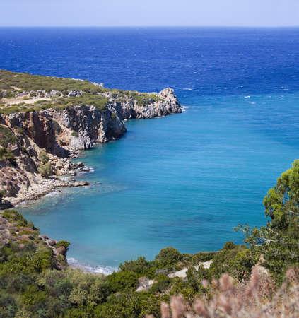 Beautiful sea landscape panorama of Crete, Greece
