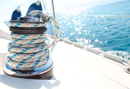 sailboat: Sailboat winch and rope yacht detail  Yachting