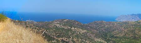 Beautiful sea landscape panorama of Crete, Greece photo