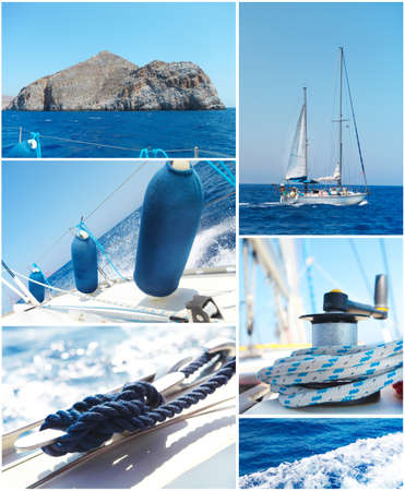 dinghies: Yacht bright collage. Sailboat. Yachting concept Stock Photo