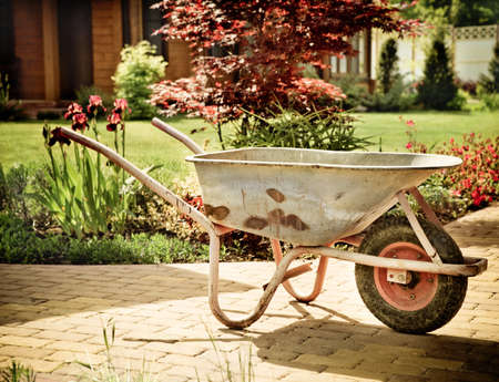barrow: Retro wheelbarrow stored in the summer garden