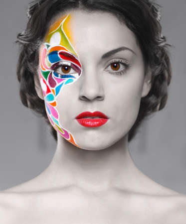 Portrait of a beautiful young model with bright make up photo