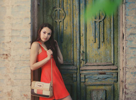 woman s bag: Retro image of cute girl near the old wooden door Stock Photo