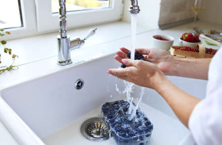 Cropped image of woman washing blueberry, strawberry and red currant at home. Hands in focus photo