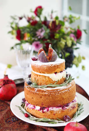 ombre cake: Dessert table for a wedding. Ombre cake, cupcakes, sweetness and flowers