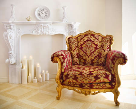 Luxurious vintage red and gold armchair