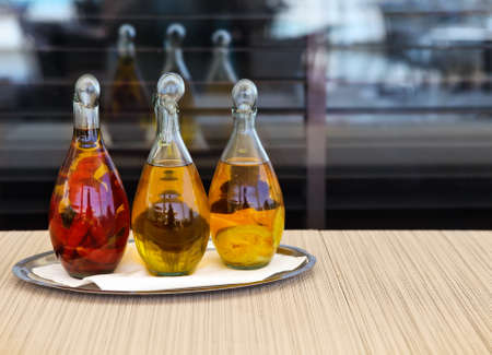 maturation: Various kinds of oil on the table Stock Photo