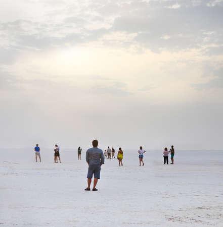 The dramatic and mysterious scene in Salt Lake. Tunisia. Sunrise photo