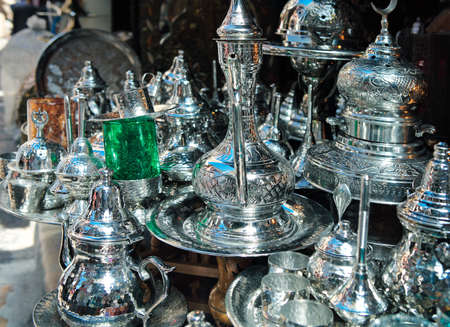 traditional goods: Traditional metal goods in shop in the medina of Tunis,Tunisia