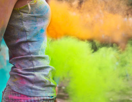 worshipers: Happy young girl on holi color festival. Close up Stock Photo