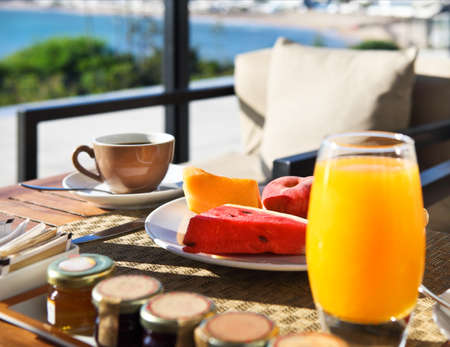 Tasty breakfast in the morning with beautiful sea view photo