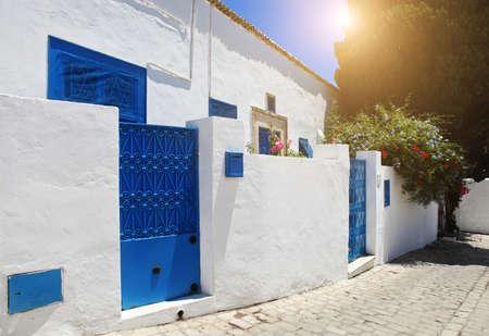 sidi bou said: Sidi Bou Said. La Gulett, Tunisia. White and blue town
