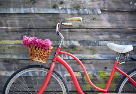 Vintage bicycle with basket with peony flowers near the old wooden wall 版權商用圖片