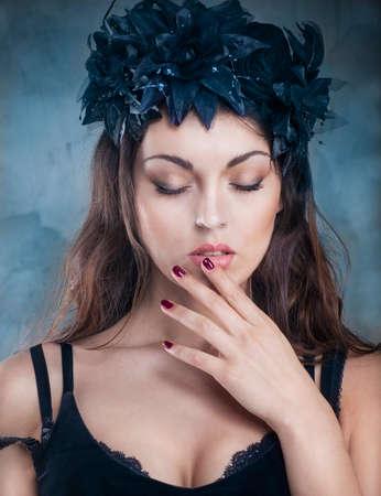 hair band: Close up portrait of beautiful brunette woman