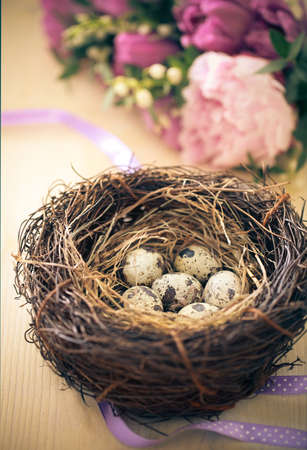 spring time: Flowers and easter nest with eggs on rustic wooden background. Spring time. Retro toned Stock Photo