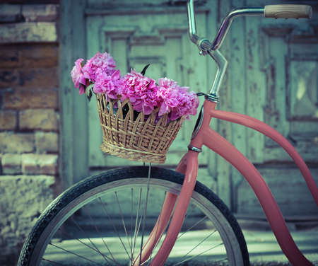 parked bicycles: Vintage bicycle with basket with peony flowers near the old wooden door Stock Photo