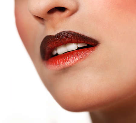 full lips: Glamour Red gloss lips with ombre effect. Close up