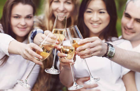 Celebration. People holding glasses of champagne making a toast outdoors. Summer picnic Stockfoto
