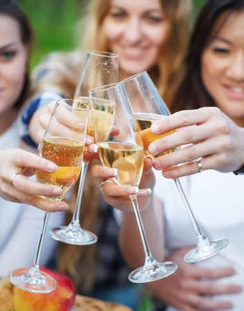 mujeres juntas: Celebración. Las personas titulares de copas de champán haciendo un brindis al aire libre. Picni verano Foto de archivo