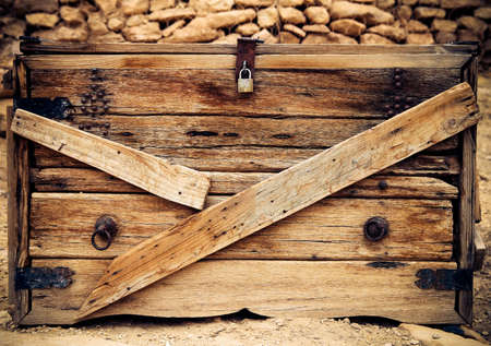 chest wall: Vintage old wood texture. Retro chest background Stock Photo