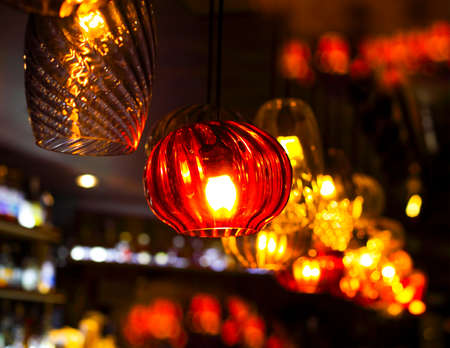 home accessories: Different kind of light decoration in the bar with blured background Stock Photo