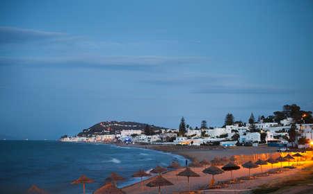 Avond uitzicht op het strand in Gammarth Tunis, Tunesië Stockfoto