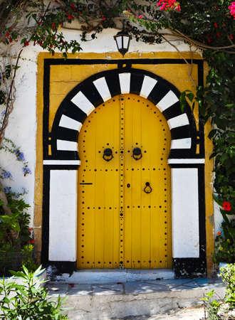 sidi bou said: Door of Sidi Bou Said. La Gulett, Tunisia. White and blue town Stock Photo